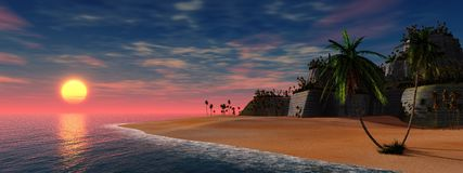 Fileira das palmeiras na praia Fotografia de Stock Royalty Free