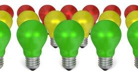 Fileira de ampolas verdes na frente das amarelas e vermelhas ilustração royalty free
