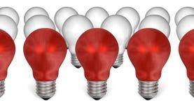 Fileira de ampolas vermelhas na frente do branco uns ilustração stock