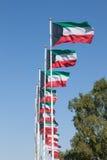 Fileira de bandeiras nacionais de Kuwait Fotos de Stock Royalty Free