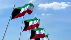 Fileira de bandeiras de ondulação do céu azul do agaist de Kuwait, laço sem emenda video estoque