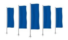 Fileira de bandeiras verticais azuis da bandeira Foto de Stock Royalty Free