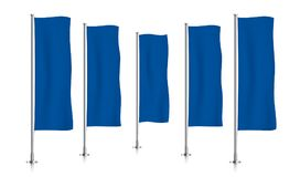 Fileira de bandeiras verticais azuis da bandeira Fotos de Stock Royalty Free