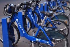 Fileira de bicicletas da parte de Melbourne fotografia de stock royalty free