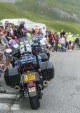 Fileira de bicicletas da polícia - Tour de France 2017 fotos de stock royalty free