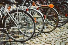 Fileira de bicicletas estacionadas Estacionamento da bicicleta na cidade grande Imagem de Stock