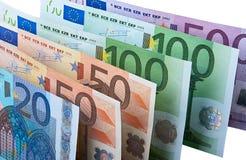 Fileira de cédulas do Euro Fotos de Stock Royalty Free