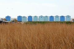 Fileira de cabanas da praia fotografia de stock