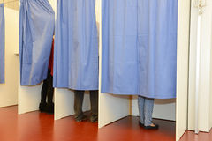 Fileira de cabinas de voto da árvore Imagem de Stock Royalty Free