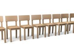 Fileira de cadeiras de madeira Fotografia de Stock