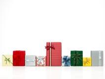 Fileira de caixas de presente coloridas Imagem de Stock