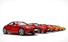 Fileira de carros impressionantes - cores mornas foto de stock