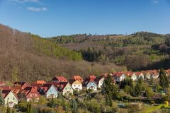 Fileira de casas destacadas na cidade Wernigerode Imagem de Stock Royalty Free