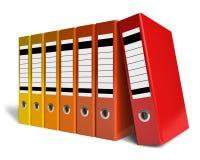 Fileira de dobradores do escritório da cor Fotografia de Stock Royalty Free