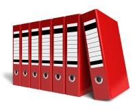 Fileira de dobradores vermelhos do escritório ilustração do vetor