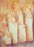 Fileira de esmerilar velas ilustração stock
