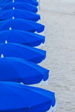 Fileira de guarda-chuvas de praia azuis Imagens de Stock