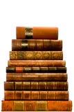 Fileira de livros de couro antigos Fotos de Stock