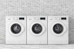 Fileira de máquinas de lavar modernas rendição 3d ilustração stock