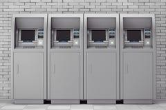 Fileira de máquinas do ATM do dinheiro do banco rendição 3d Imagens de Stock Royalty Free