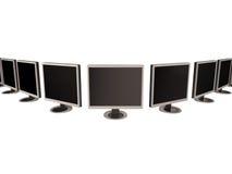 Fileira de monitores da tela lisa ilustração royalty free