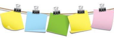 Fileira de notas em branco do memorando Fotografia de Stock