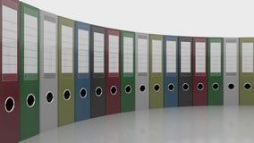 Fileira de pastas do escritório Bom para relatórios e apresentações rendição 3d Fotografia de Stock Royalty Free