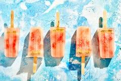 Fileira de picolés congelados congelados caseiros do melão Imagem de Stock Royalty Free