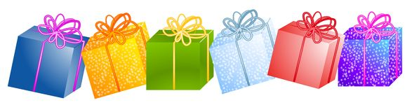 Fileira de presentes Clipart do Natal Foto de Stock