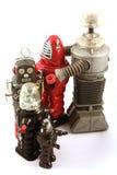 Fileira de robôs do brinquedo do estanho Fotos de Stock Royalty Free