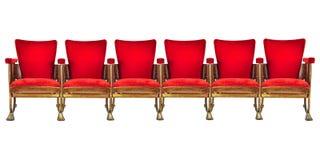 Fileira de seis cadeiras do cinema do vintage isoladas no branco Imagem de Stock Royalty Free