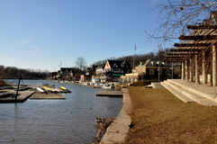 Fileira do Boathouse, parque de Fairmount, Philadelphfia Foto de Stock Royalty Free