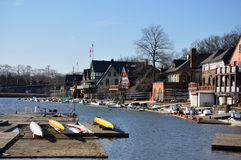 Fileira do Boathouse, parque de Fairmount, Philadelphfia Imagem de Stock