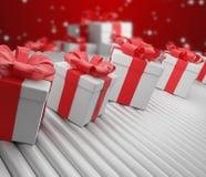 A fileira do Natal apresenta caixas na correia transportadora 3d-illustration ilustração do vetor
