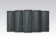 Fileira do sistema do servidor da lâmina isolado no fundo cinzento Imagem de Stock Royalty Free