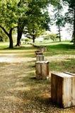 Fileira do trajeto de caixas de madeira Imagem de Stock