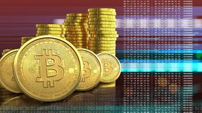 fileira dos bitcoins 3d Foto de Stock