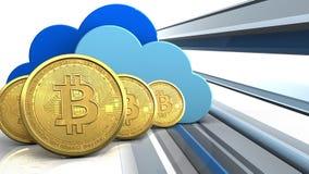 fileira dos bitcoins 3d Imagens de Stock