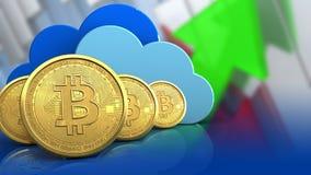 fileira dos bitcoins 3d Imagem de Stock