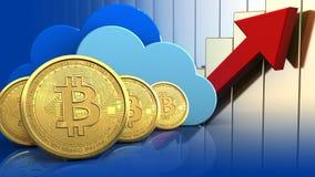 fileira dos bitcoins 3d ilustração royalty free