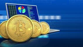 fileira dos bitcoins 3d Foto de Stock Royalty Free