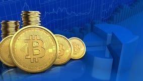 fileira dos bitcoins 3d Foto de Stock