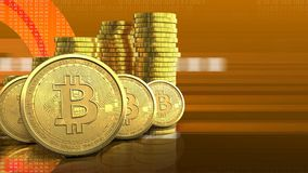 fileira dos bitcoins 3d Fotografia de Stock Royalty Free