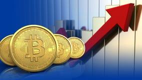 fileira dos bitcoins 3d Imagem de Stock Royalty Free