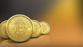 fileira dos bitcoins 3d Fotografia de Stock