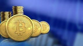 fileira dos bitcoins 3d Fotografia de Stock Royalty Free