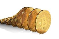 Fileira dos bitcoins que desmoronam como o efeito de dominó Posição incerta do bitcoin sobre o conceito do mercado ilustração stock
