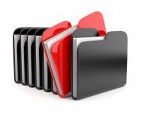 Fileira dos dobradores e dos arquivos. ícone 3D isolado Imagens de Stock Royalty Free