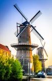 Fileira dos moinhos de vento em Schiedam, os Países Baixos imagens de stock royalty free