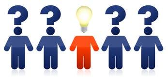 Fileira dos povos com perguntas e idéias Imagem de Stock